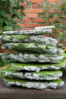 Bildno.: 11018797<br/><b>Feature: 11018783 - Rhubarb to Go</b><br/>Home-made garden stepping stones made from rhubarb leaves<br />living4media / Casper-Zielonka, Susanne