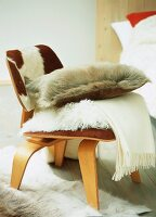 Cow skin armchair with woollen blanket and scatter cushions