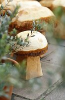 Wooden carved mushroom ornaments