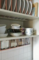 Plate rack and tableware on shelf