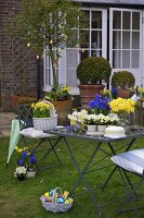 Spring flowers and Easter eggs on table