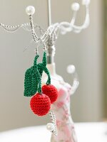 Crocheted cherry earrings