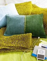 Crocheted cushions & blanket