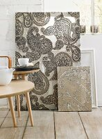 Hand-crafted, paisley-patterned fabric artworks