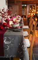 A table laid for Christmas dinner