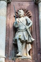 The entrance to Schloss Corvey – a statue of a Turkish soldier holding a dagger