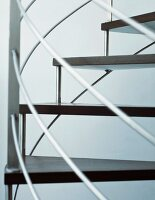 Detail of modern stainless steel spiral staircase