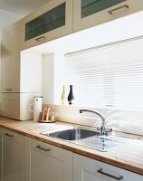 Detail of kitchen counter with closed window blinds