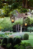 Provençal garden with Chinese lanterns hanging from tree