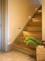 Stairs with lights on stone treads