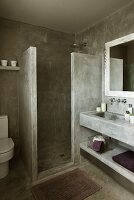 Brutalist bathroom - concrete shower partition and washstand