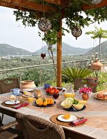 Breakfast on terrace (Villa Octavius, Lefkas, Greece)