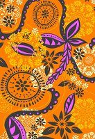 Orange and magenta graphic floral design (print)