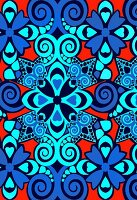 Blue and orange geometric pattern (print)