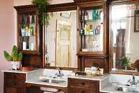 Old dressing table with two integrated wash basins