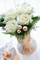 Christmas bouquet of white roses