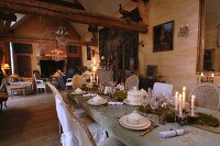 Impressive dining table: skilful Rococo table setting in old, French country manor
