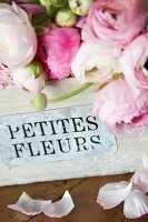 Pink ranunculus in vintage wooden crate with French writing on label