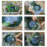 A floral wreath being handmade using gentian flowers and cushion bush