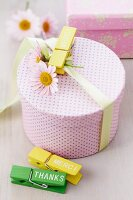 Gift box decorated with daisies and mottoes on clothes pegs