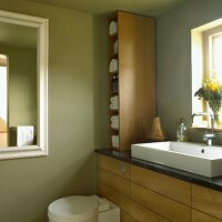 Bathroom with green walls, wooden furniture, sink in front of the window, toilet and wall mirror