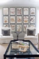 Coffee table with glass top and white armchairs in front of gallery of framed, floral pictures on wall