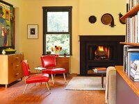 Living room with burning fireplace