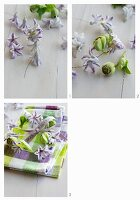 Crafting small, spring wreaths of hyacinth florets and hellebores