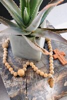 Necklace and potted agave next to clay cross on square wooden block