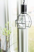 Pendant lamp with retro-style metal lampshade