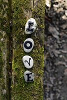 Letters on pebbles on mossy log