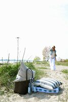 Woman on way to beach picnic