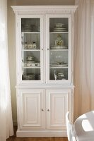 White, country-house-style, glass-fronted dresser