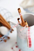 Cinnamon sticks decorated with washi tape