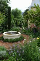 Fountain with round concrete basin in flowering garden with cornflowers and scabious
