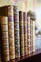 Antiquarian books with gilt-decorated spines