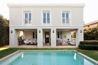 Elegant house with spacious loggia and swimming pool in garden