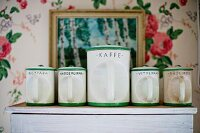 White, retro, china storage jars with green rims