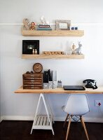 Untreated wood, black, white and retro elements in home office