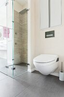 A shower-toilet next to a floor-level, tiled shower with a glass partition wall
