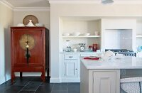 Kitchen counter, Oriental cupboard in niche and fitted, white, country-house-style kitchen cupboards