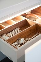 Open cutlery drawer with exotic wooden compartments, silver cutlery and integrated lighting