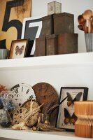 Detail of shelves with set of vintage tins, numbers on boards, butterflies in display case and vintage clock faces
