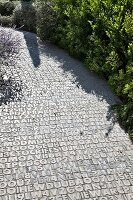 Paved garden path with pattern of numbers and letters