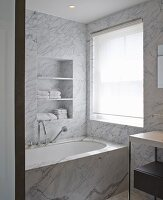 Private Apartment, London, United Kingdom. Architect: Hill Mitchell Berry, 2014. Elegant, marble-clad bathroom