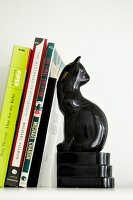 Black, cat-shaped bookend
