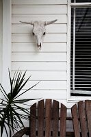 Partially visible wooden seat on terrace below animal skull on white-painted wooden façade