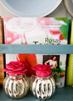 Red roses in retro silver vases and book on shelf