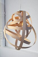 DIY lampshade made from strips of wood veneer