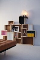 DIY shelving made from wooden crates of various sizes